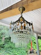Antique Art Deco French 1930s Wedding Cake Crystal Tier Chandelier Amber Rewired