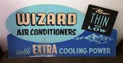 Vintage Wizard Air Conditioner Store Cardboard Display Sign 1950s Double Sided