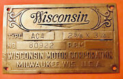 Vintage All Brass Wisconsin Motor Tag