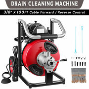 100ft 3/8and039and039 Electric Drain Snake Auger Cleaner Sewer Cleaning Machine W/cutters