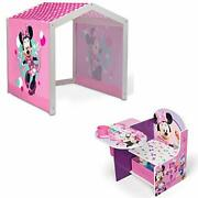 Disney Minnie Mouse Indoor Playhouse With Fabric Tent + Minnie Mouse Chair De...