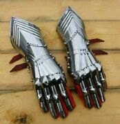 18ga Steel Gauntlets Armor Medieval Late Gothic Knight Finger Gloves Sca Larp
