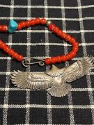 Vintage Japan Goroand039s 90s Silver Native North American Style Eagle Pendant71andtimes34mm