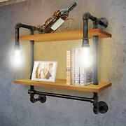 Industrial Pipe Metal Shelf Shelving Shelves With Vintage Bulb Solid Wo