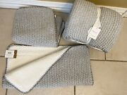 New Nwt Sold Out Pottery Barn Pillow Cover Set 24x24 + Throw Blanket Knit Sherpa