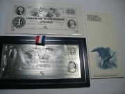 Historic American Limited Edition Sterling Silver Art Bar 4 Bank Note 155g. 24