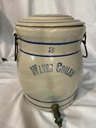 Antique Red Wing No 3 Pottery Crock Water Cooler Jug W/ Lid Spout Handles
