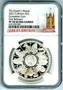 2021 Great Britain 1oz Silver Proof Ngc Pf70 Ucam Queenand039s Beasts Completer Coin