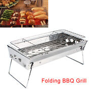 Outdoor Bbq Grill Barbeque Portable Camping Picnic Stainless Steel Cook