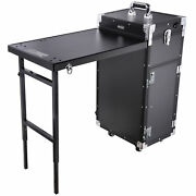 Rolling Aluminum Makeup Train Case Table Travel Trolley Lager Cosmetic Organizer