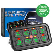 Universal 8 Gang Car On-off Control Switch Panel Green Led Fit For Jeep Dodge
