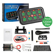 Universal 8 Gang Switch Panel On-off Led Light Circuit Control Green Back Light