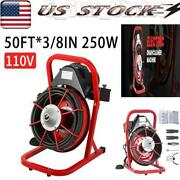 Commercial 50ft 3/8 Electric Drain Auger Drain Cleaner Machine Tool Snake Sewer