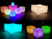 Led Garden Furniture Light Up Colour Changing Outdoor Cube Table Seat Waterproof