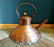 Stylish Antique Arts And Crafts Movement Conical Copper Kettle C1890
