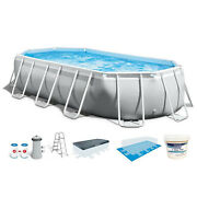 Intex 16.5ft X 9ft 48in Frame Above Ground Swimming Pool Kit W/ Chlorine Tabs