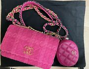 19 Pink Tweed Quilted Woc With Leather Pouch Wallet On Chain