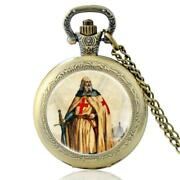 Religious Catholic Crusader Quartz Pocket Watch With Necklace Chain - 3 Varian