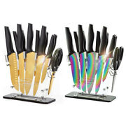 14pcs Kitchen Knife Set With Stand Stainless Steel Dishwasher Safe Cutlery Set