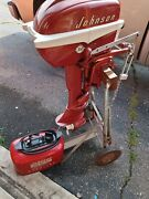Vtg 1956 5.5 Hp Johnson Sea Horse Outboard Motor W Tank Stand Cd-13