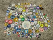 Huge Lot Of 140 Vintage Pins / Buttons Political Funny Wa State Area