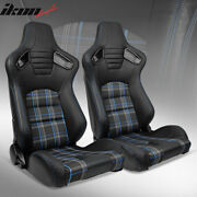 Universal Reclinable Racing Seat 2pc Dual Slider Pu Carbon Leather Blue Plaid