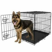 Extra Large Dog Crate Kennel 48/24/18 Folding Pet Cage Metal W/ Doors Andtray