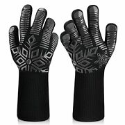 Pair 1472℉ Extreme Heat Resistant Cooking Oven Gloves Silicone Grill,bbq,mitts