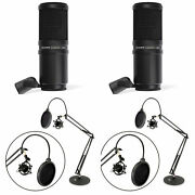 Zoom Zdm-1 Dynamic Audio Recorder Microphone + Pyle Desktop Arm Stand 2 Pack