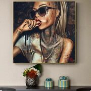 Diamond Painting Home Craft Diy Tattoo Girl Glasses Woman Mosaic Picture Art 3d