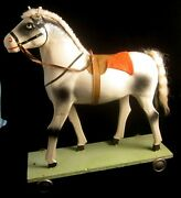 Pull Toy Horse Composition On Painted Wooden Base Metal Wheels Vintage Antique
