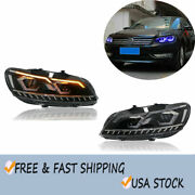 For 2011-2015 Volkswagen Passat Headlight Assembly Led Drl Projector Headlamps