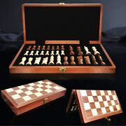 Wooden Chess Set 15andtimes15 Wood Board Hand Carved Crafted Pieces Made Folding Game
