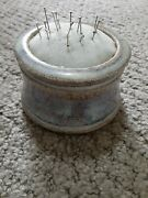 Handmade Pottery Signed Pin Cushion Sewing Store Collect Pins Needles