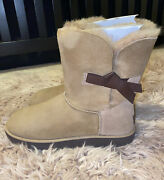 New-ugg Classic Knot Short Bow Natural Suede Sheepskin Boots Size Us 11 No Box