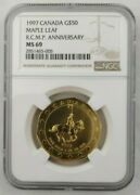 1997 Canada Maple Leaf R.c.m.p. Anniversary Gold 50 Ngc Ms 69 Graded Top Pop