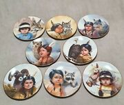 """Set Of 8 Perillo Collector Plates """"pride Of The American Indians"""" Vague Shadows"""