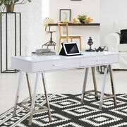 Acme Colleen Office Writing Study Desk Workstation White Highlights And Chrome