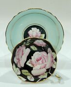 Paragon Large Pink Rose Teacup And Saucer On A Black Background Turquoise Blue