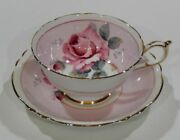Paragon Large Pink Rose Tea Cup And Saucer On A Pink Background Vintage