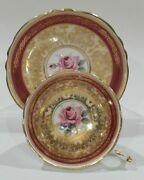 Paragon Red Tea Cup And Saucer With Pink Rose And Golden Rococo Pattern Vintage