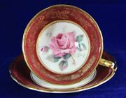 Paragon Red Tea Cup And Saucer With Pink Rose And Golden Rococo Pattern