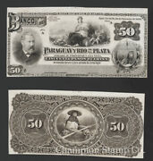 Paraguay Banknote Proof Catalog S166 Front And Back