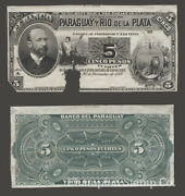 Paraguay Proof Banknote Face/back Catalog S163