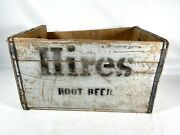 Vintage Hires Root Beer Wood Bottle Crate - Great Patina Double Handle