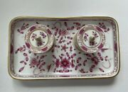 Meissen Purple And White Mini Ink Well Inkwell Indian Flowers Rare