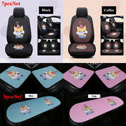 Cute Cat Auto Car Seat Covers Soft Breathable Front Rear Seat Protector Full Set