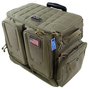 Gps Tactical Rolling Range Case Bag For Shooting Gear, 10 Handguns, And Ammo, Tan