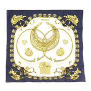 Hermes Kare 90 Les Cavaliers Dand039or Golden Knight Navy White Silk Scarf Wom 7-316