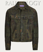Purple Label Clifton Suede Leather Paisley Trucker Jacket 3995